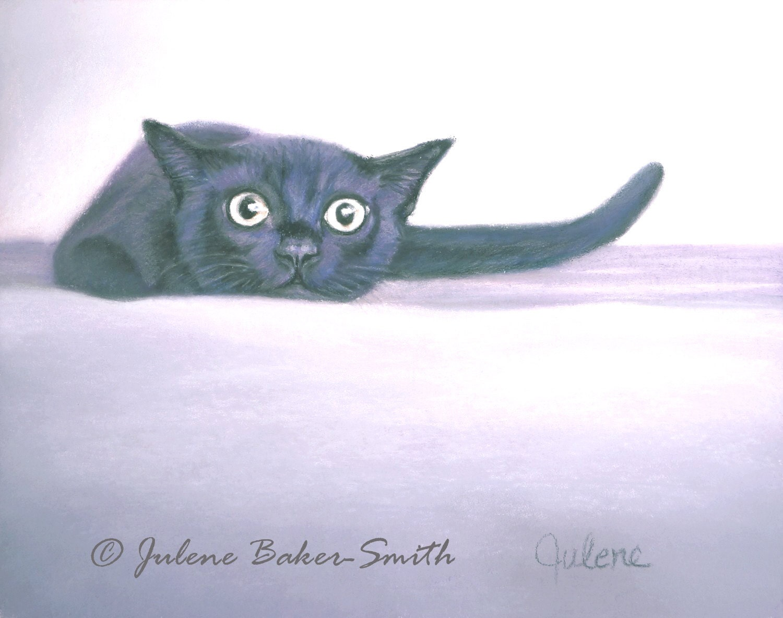 The Stalker Black Kitty Cat Art Print - ArtByJulene