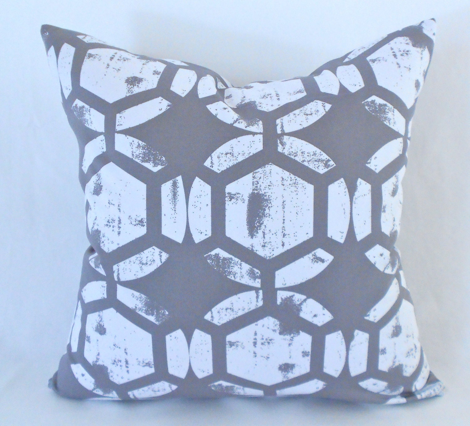 2 Designer Pillow Covers Grey White Ikat Any Size