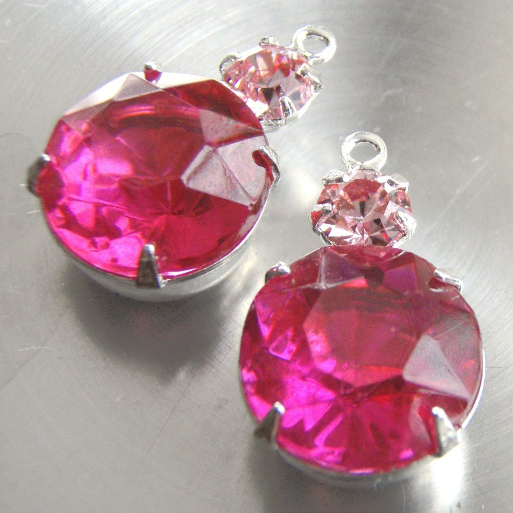 Deep Pink 11mm Jewels with Light Pink Swarovski Crystals - in Silver Plated Settings