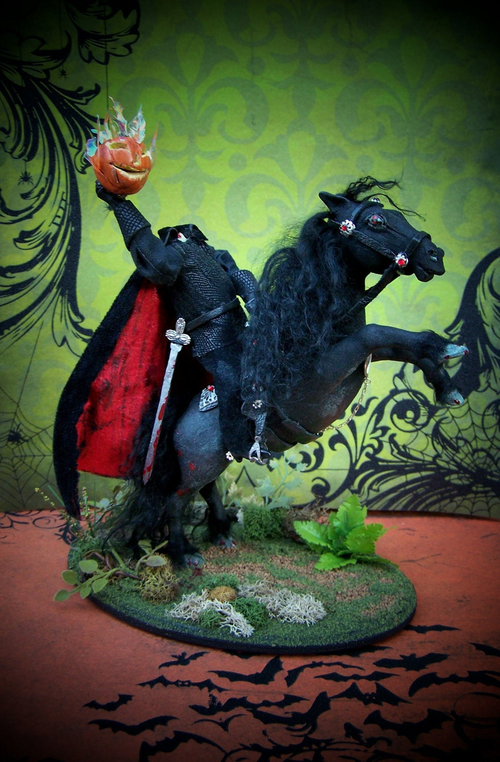 Dollhouse Miniature 1/12 scale Headless Horseman with Goblin Horse Layaway Available