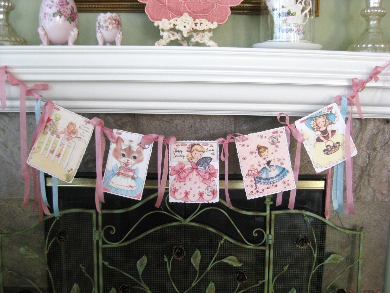 Retro Little Girls Birthday Garland