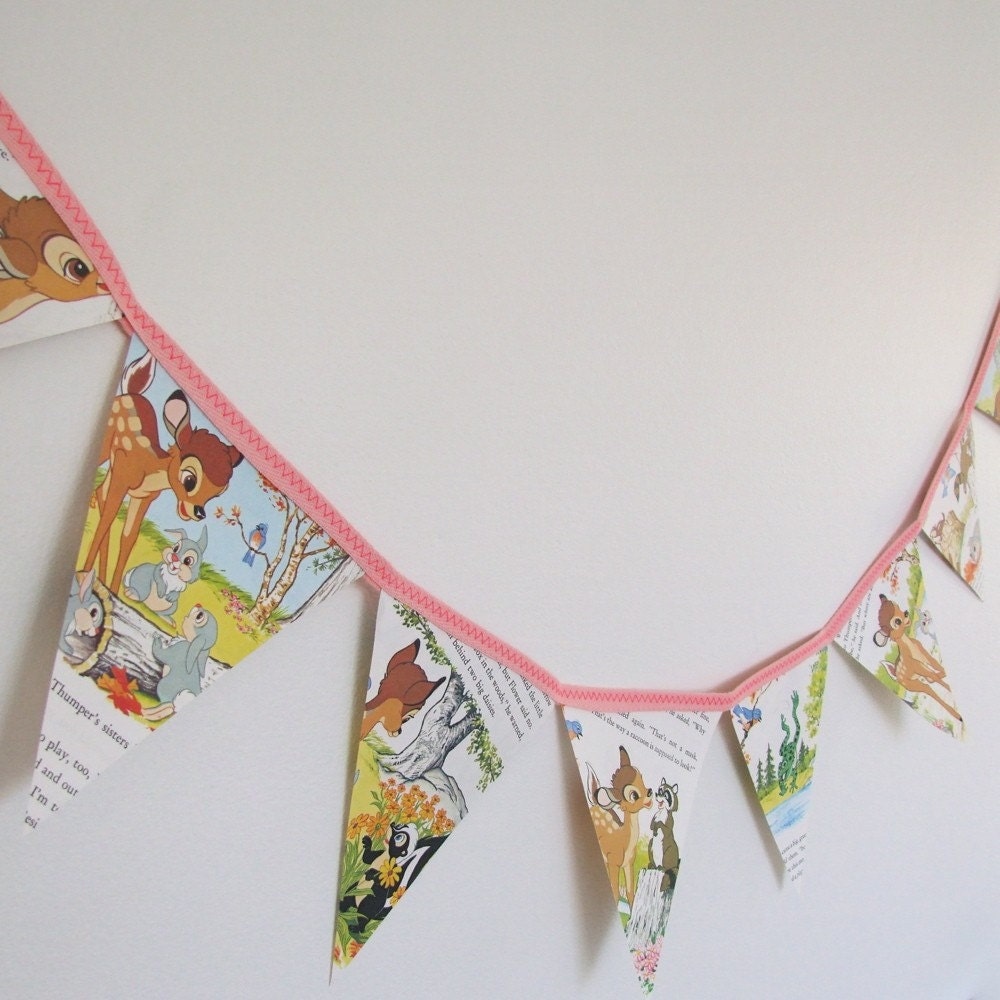 vintage storybook bunting - bambi, friends of the forest