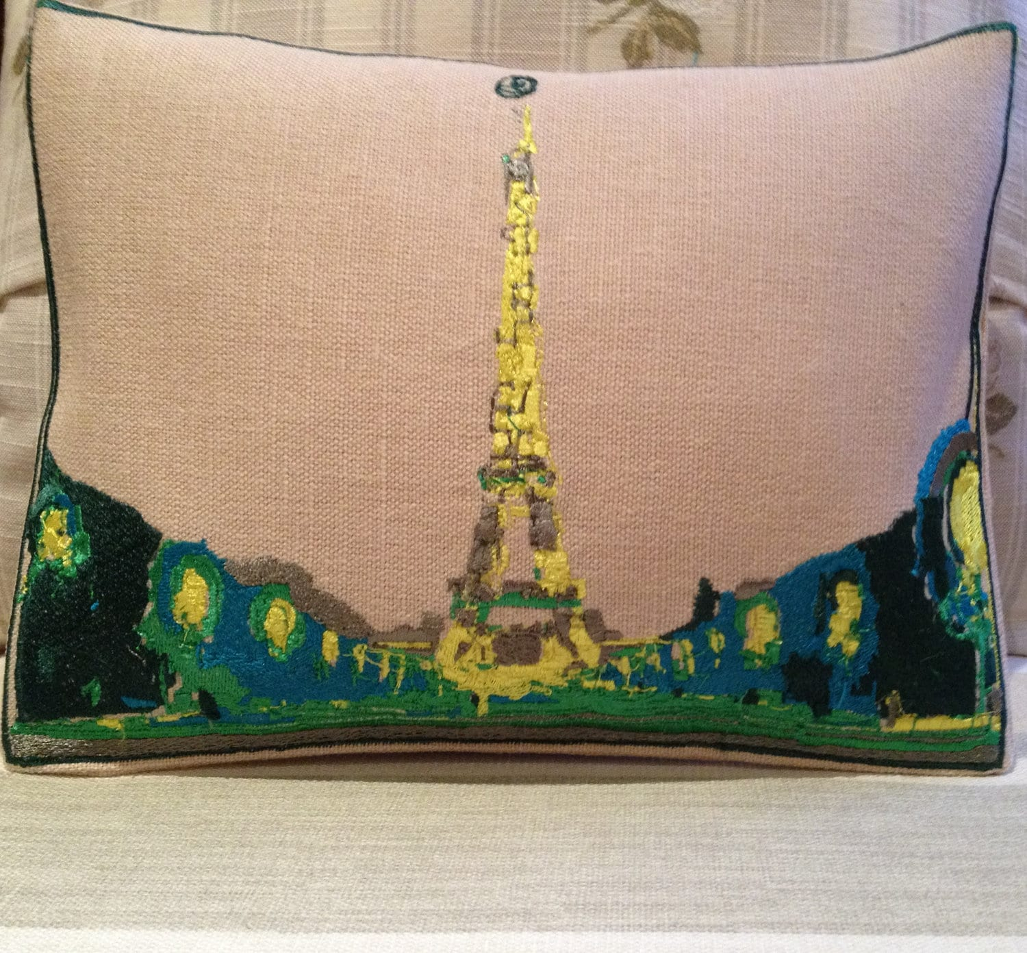 Eiffel Tower Abstract Embroidery Throw