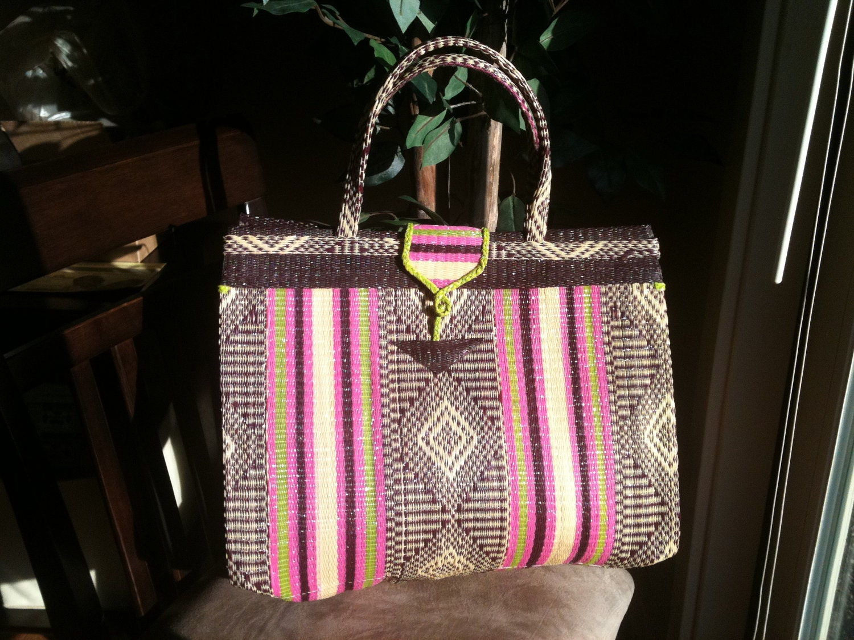 Stylish Woven Straw Handbag -Recycle