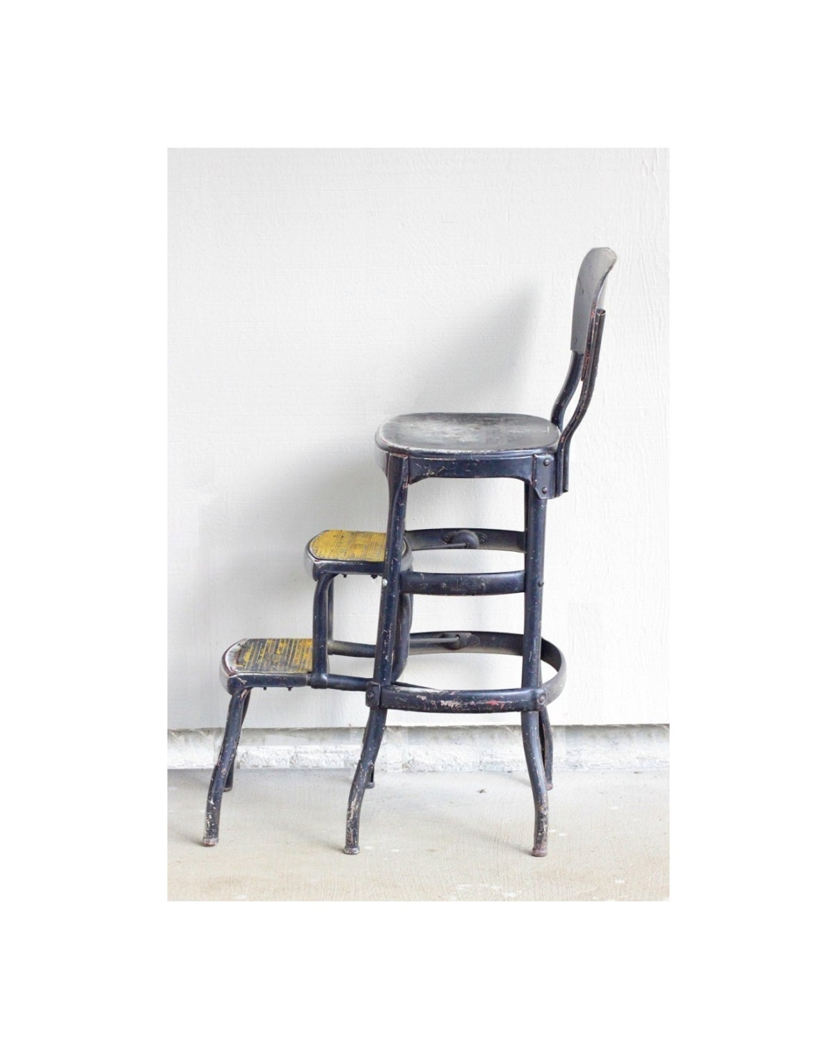 Items similar to Vintage Step Stool Folding Chair Black Yellow Industrial Hom