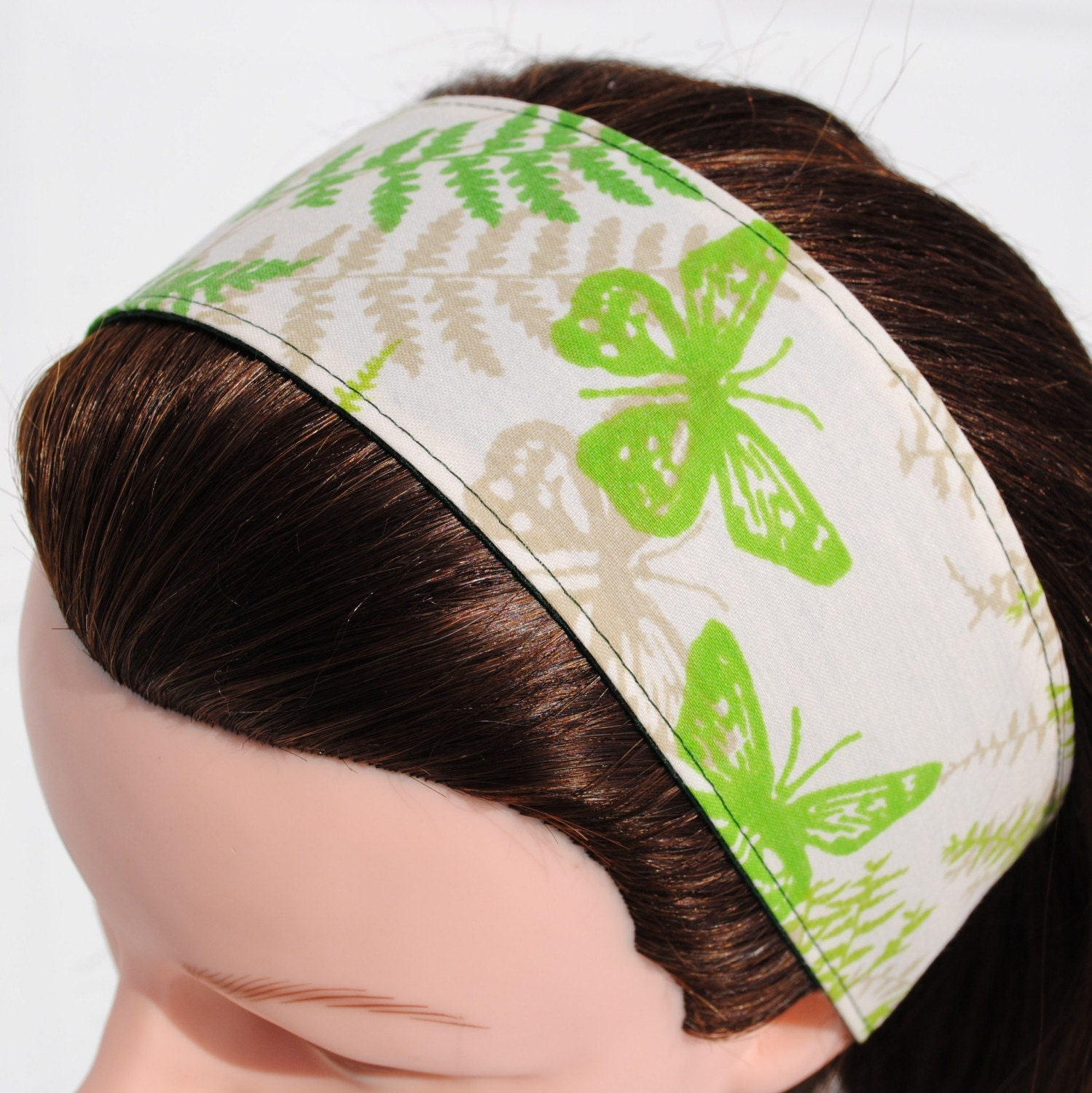 Headband, Vintage Fabric, Green and Tan Butterfly, Wide