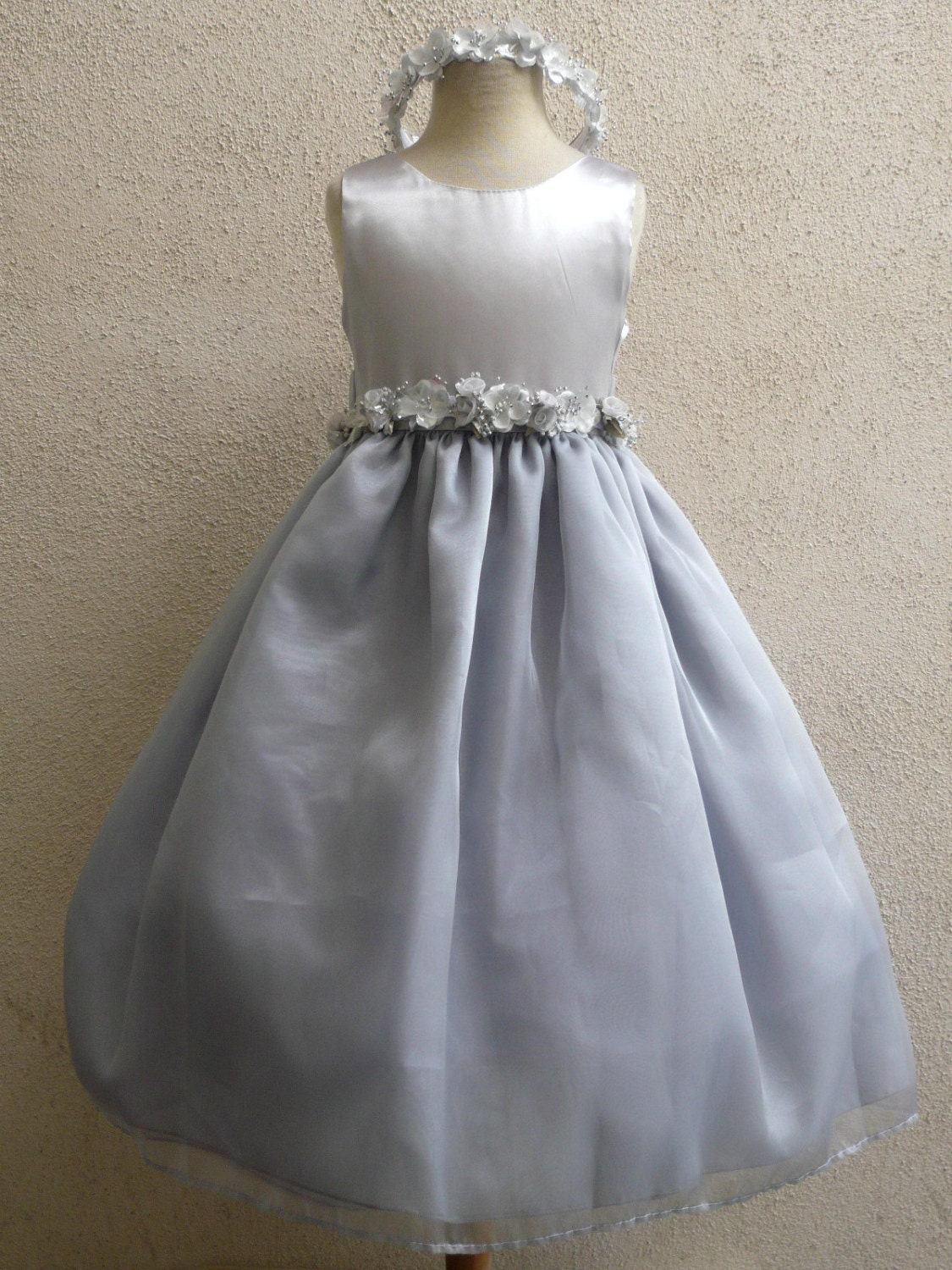 Flower girl dress silver satin bodice with organza by for Silver tea length wedding dresses