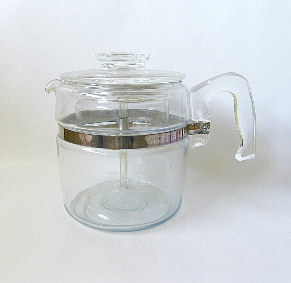 Vintage Pyrex Coffee Pot Blue Flameware 6 cups by RetroClassics