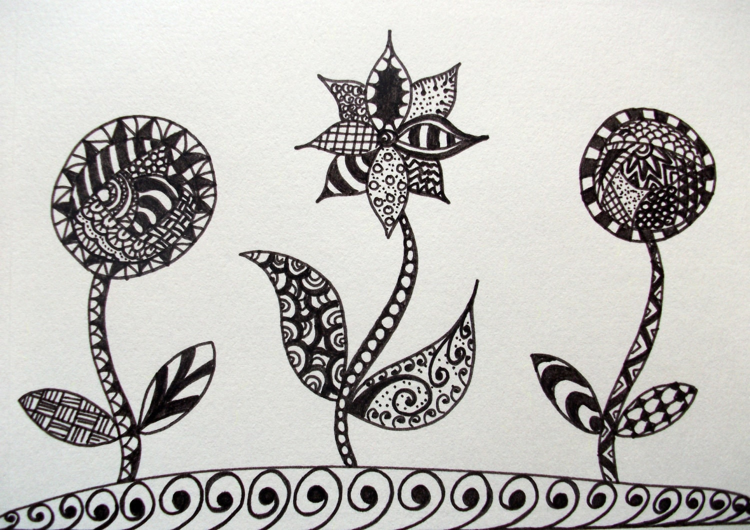 "Original Ink Drawing, Flowers Zendoodle 5""x7"""