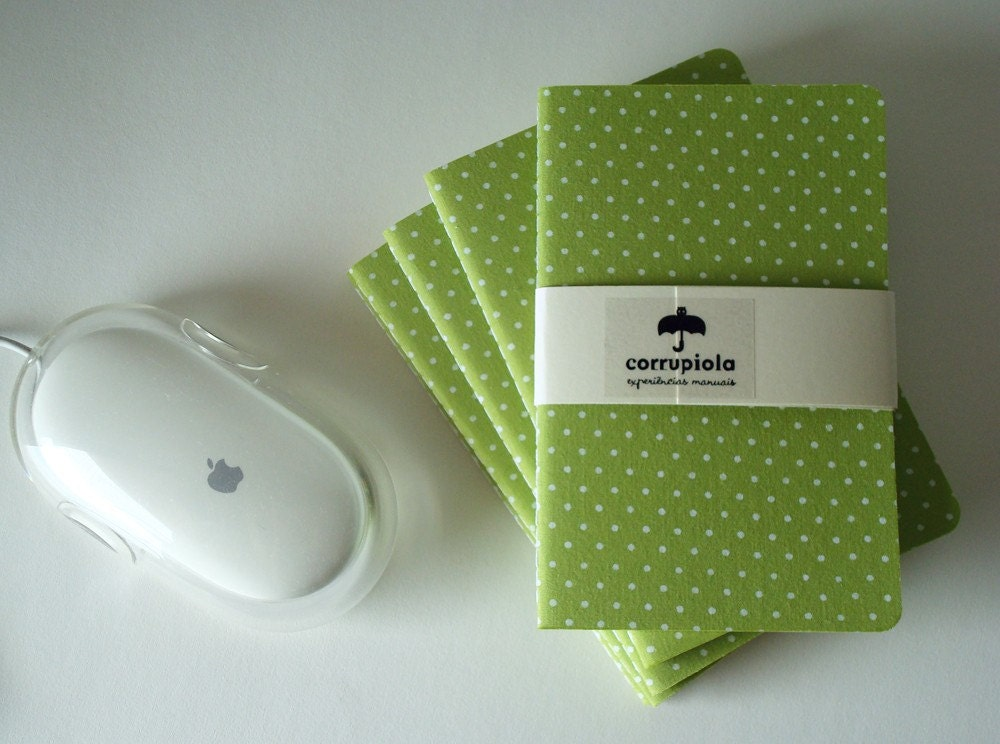 Corrupio (white polka dots with green background) - Small notebook