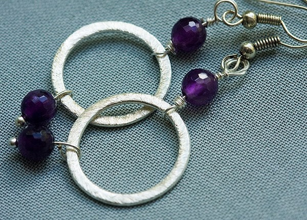Modern Silver Sphere and Amethyst Earrings