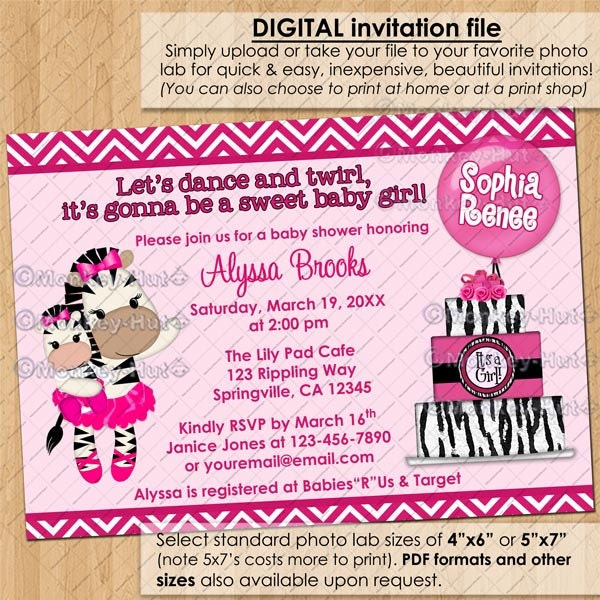 tutu cute ballerina zebra baby shower invitations by monkeyhut
