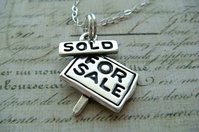 REALTOR FOR SALE/SOLD SIGN - Sterling Silver Charm Hanging on a FREE Silver Plated 18 inch Chain