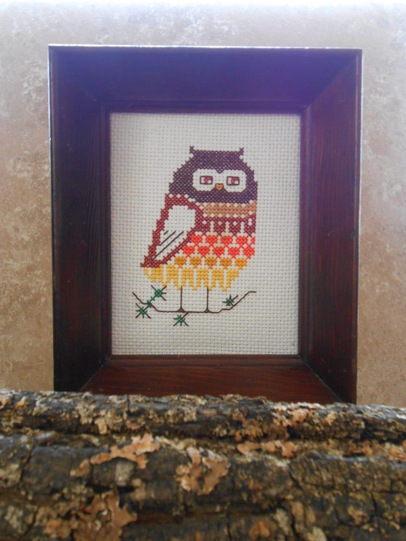 Wall Decor Cross Stitch : Vintage handmade owl cross stitch wall decor framed by