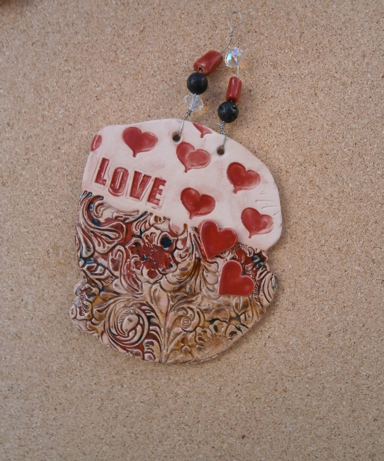 Red heart ceramic plaque  Love earthenware wall art  hearts and flowers hanging