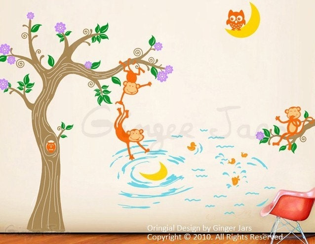 کودکان و نوجوانان دیوار عکس برگردان وینیل دشنه هنر میمون ها و ماه 8 رنگ