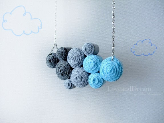 Cloud Fibre Art  Bib Necklace