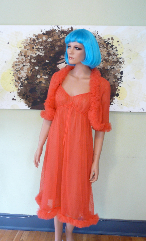 Buy Nighty Online | Pretty Secrets Orange Satin Lace Trim