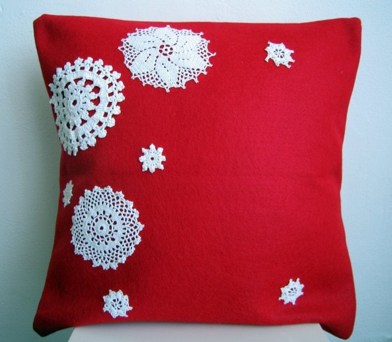 Let it Snow: eco friendly pillow cover in red eco felt and vintage crochet