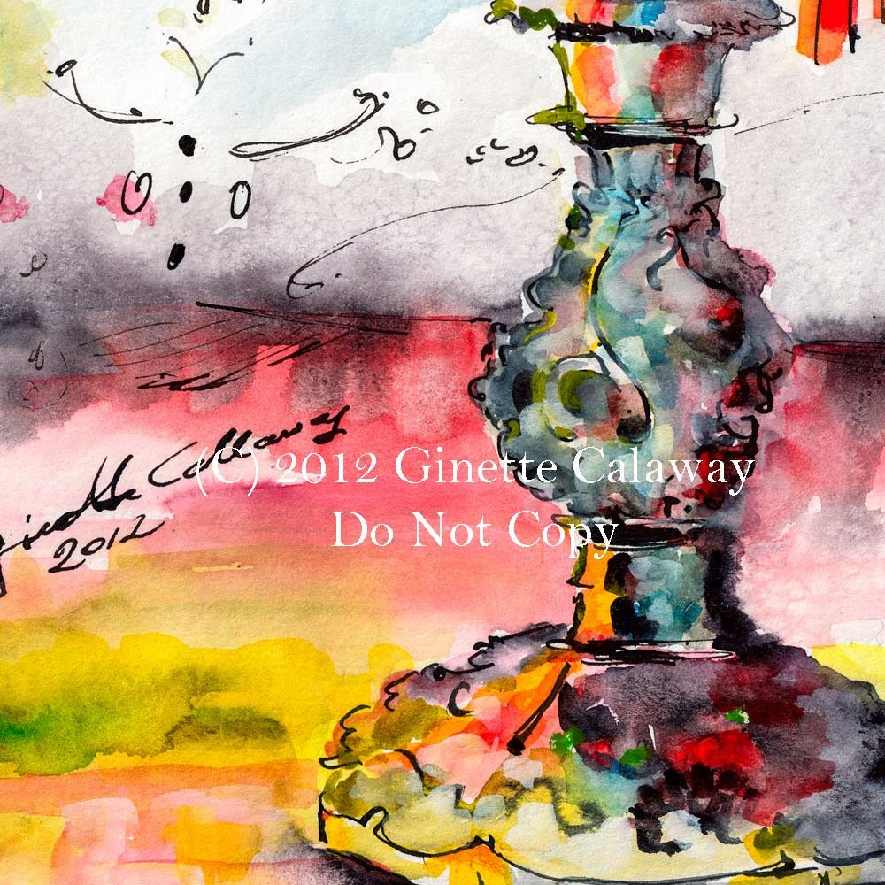 Pear on Candlestick Unusual Still Life Original watercolor and Ink 11 by 15 inch by Ginette
