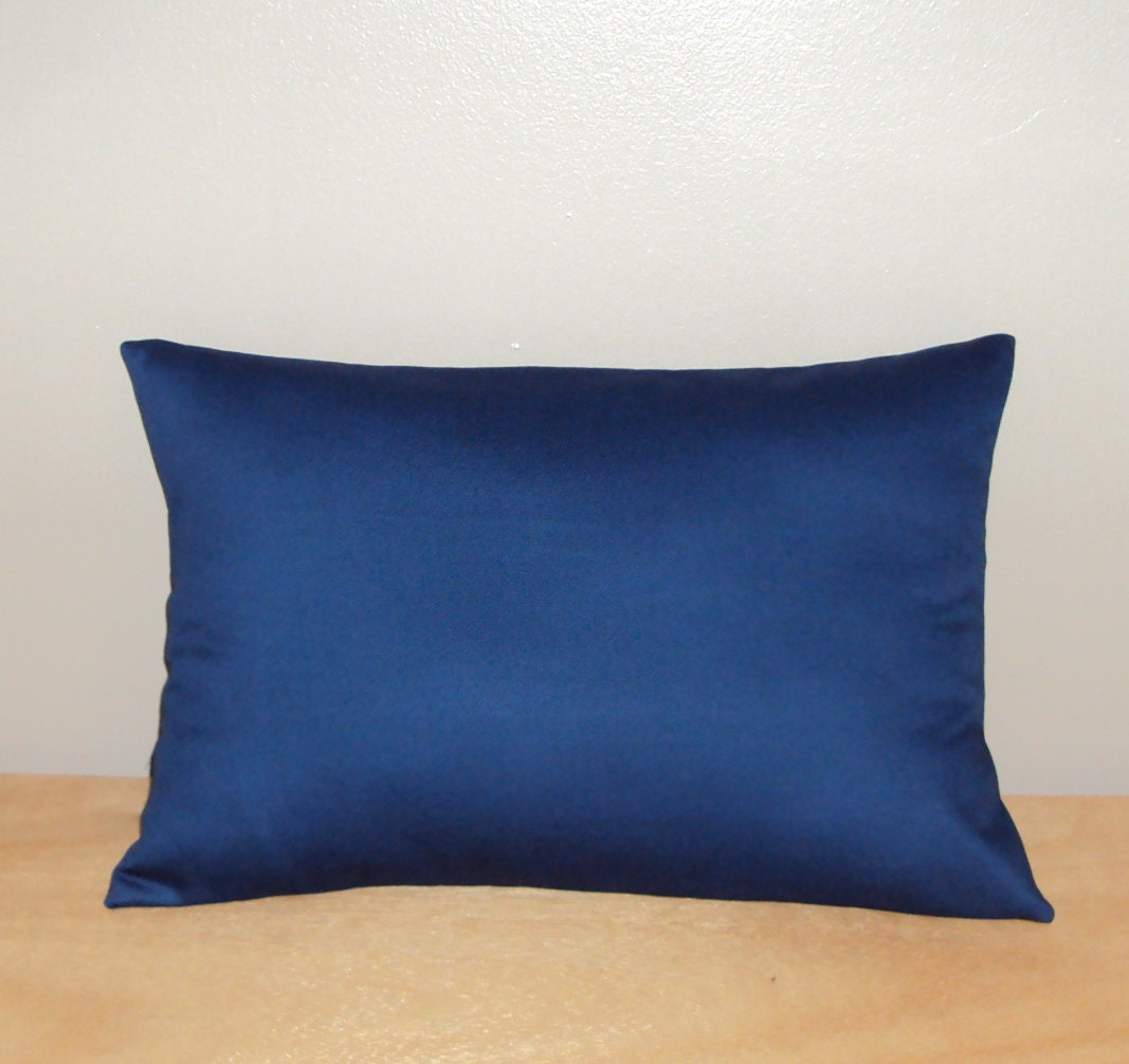 Solid Navy Blue Cotton Decorative Lumbar Pillow by PlumandLitton