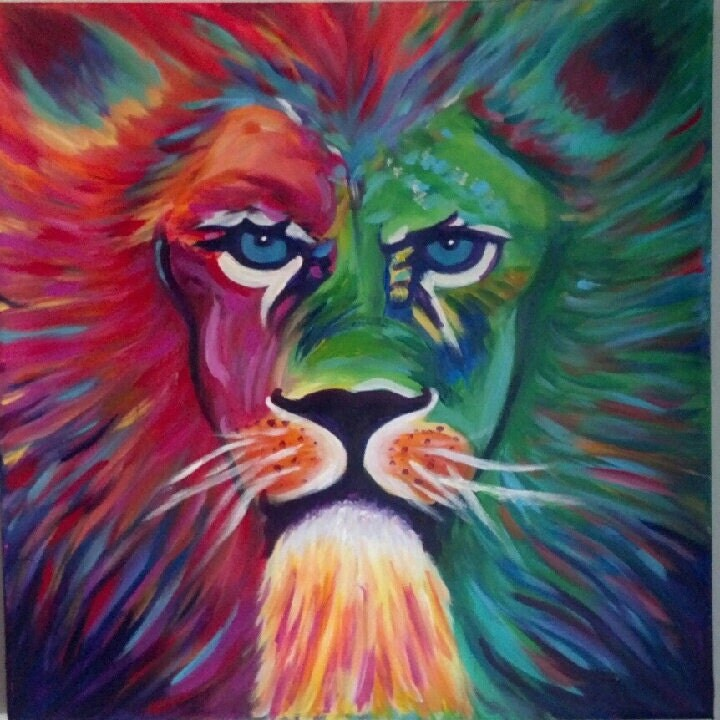 Colorful lion painting - photo#18