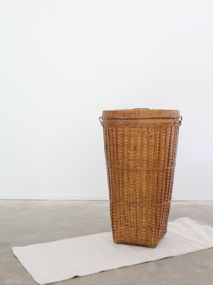 Reserve Vintage Tall Basket Woven Hamper With Lid By 86home