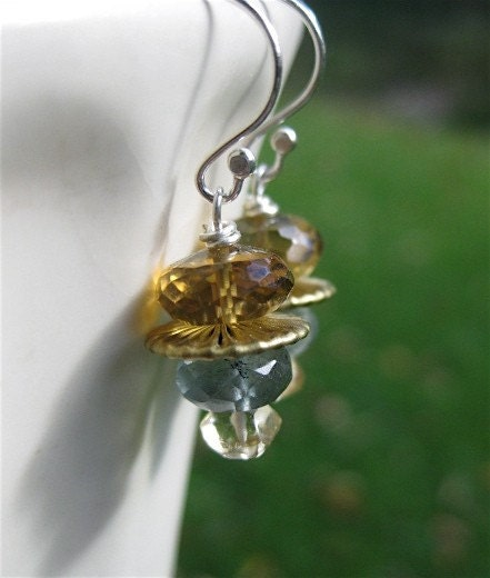 Quartz, Brass, Moss Aquamarine and Citrine Earrings