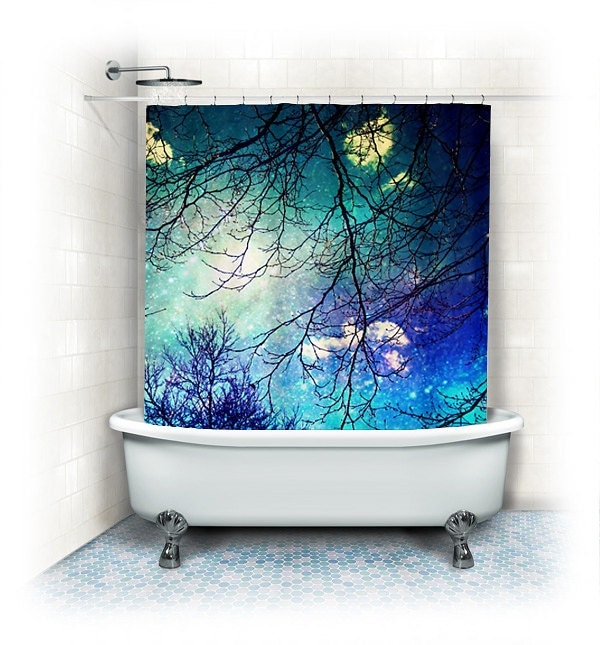 Aqua Fabric Shower Curtain Night Sky Clouds By VintageChicImages