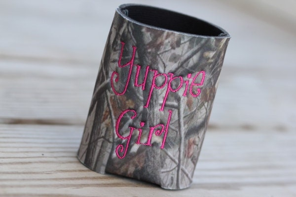 Camoflauge Koozie Yuppie Girl, Many font color choices to choose from