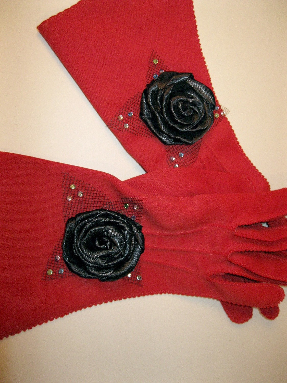 Vintage Womans Red Gloves, Embellished Black Satin Roses, Upcycled, OOAK