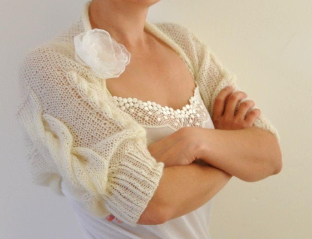 Ivory Cable Mohair Shrug / Bolero - Bridal Shrug Handmade