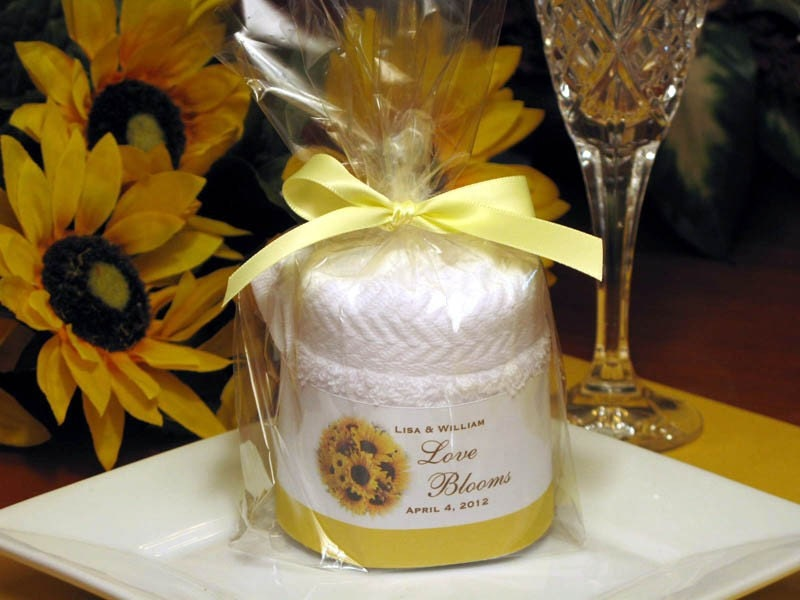 sunflower baby shower birthday bridal wedding towel cake favors