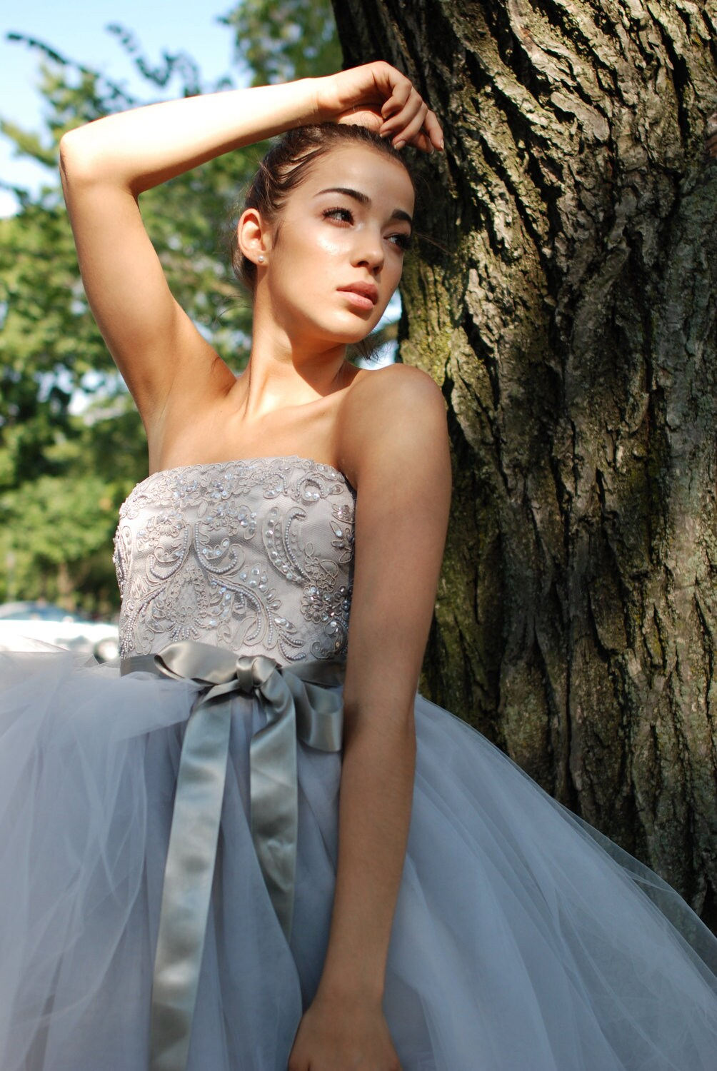 Wedding Gown-- Grey  wedding dress - Zoe Beaded Lace Bodice tulle Wedding Gown --
