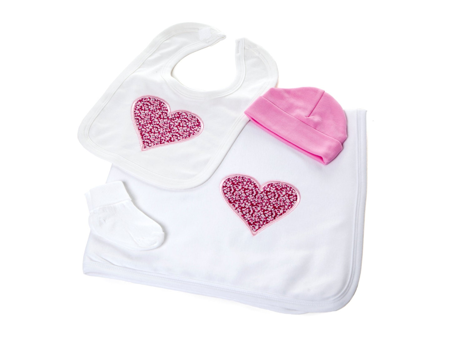 Baby Gift Set  featuring Pink Pepper Liberty Heart  the perfect baby girl gift!