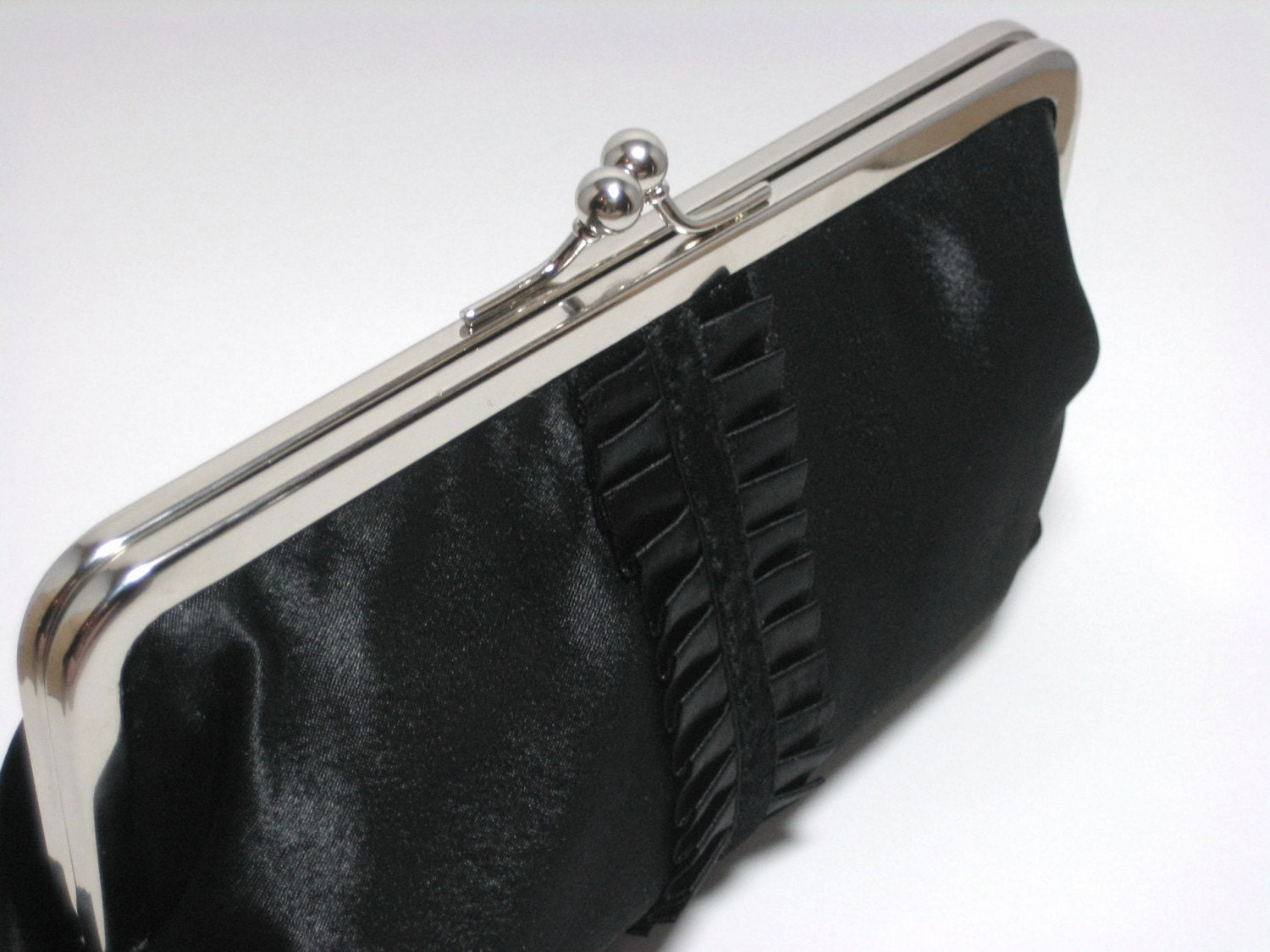 Black Satin Clutch Purse with Black Ruffle - Ready to Ship