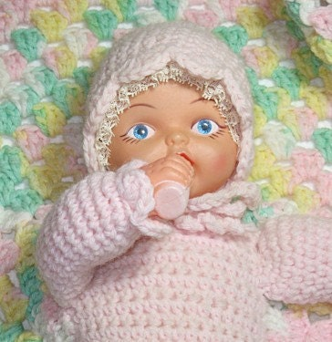 Crochet Pattern For Doll Blanket : Vintage Baby Doll Attached to Crochet Blanket by Great2bme ...