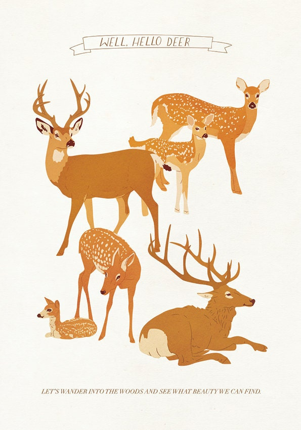 Deer Print A4 - Well, Hello Deer