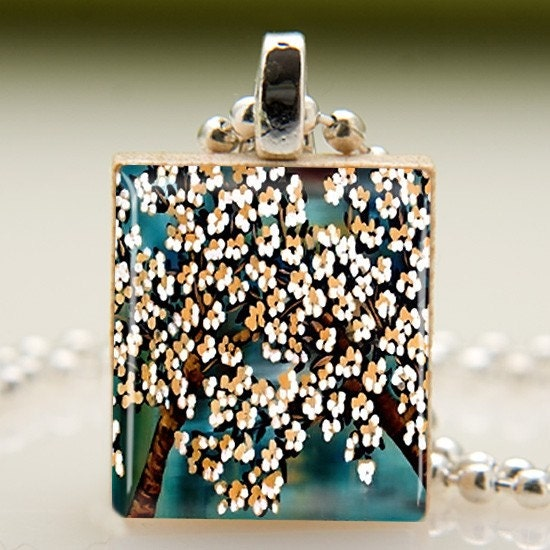 Japanese Blossoms Scrabble Tile Pendant with Necklace (466)