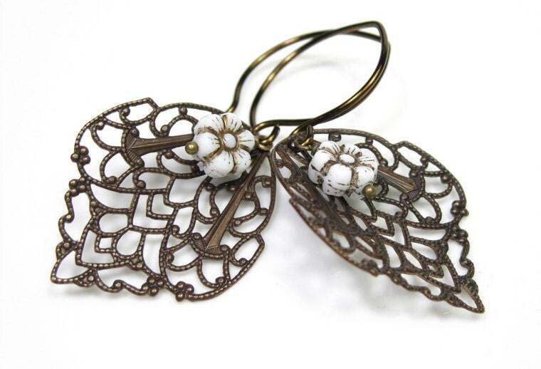 Vintaj Brass Vintage Style Filigree Crest Earrings