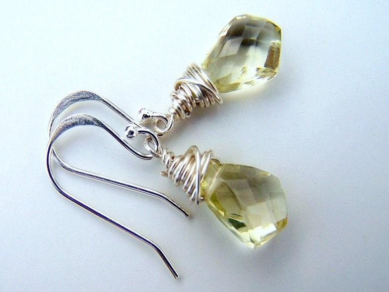 SunKiss  -   Earrings   AAA  Lemon Citrine Kite Briolettes,  Sterling Silver