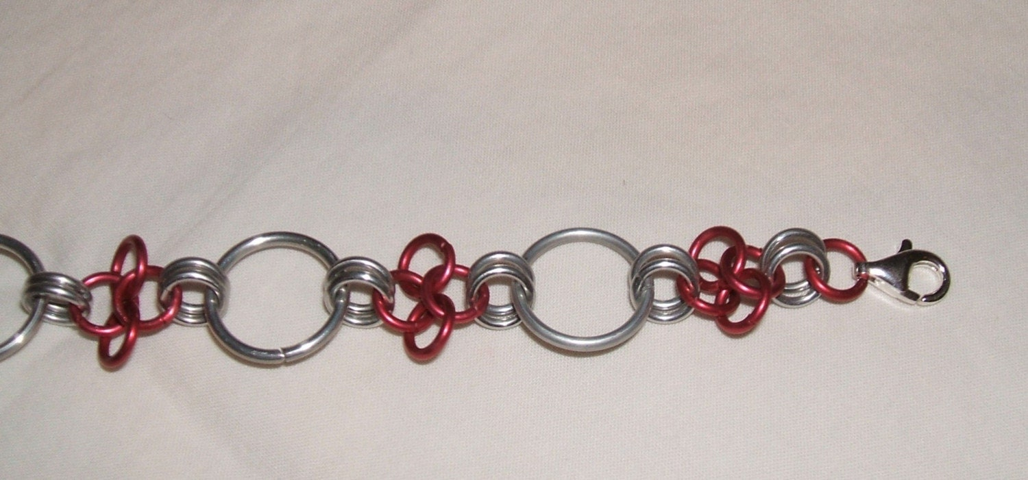 Diamond and Ring Chainmaille Bracelet - Red
