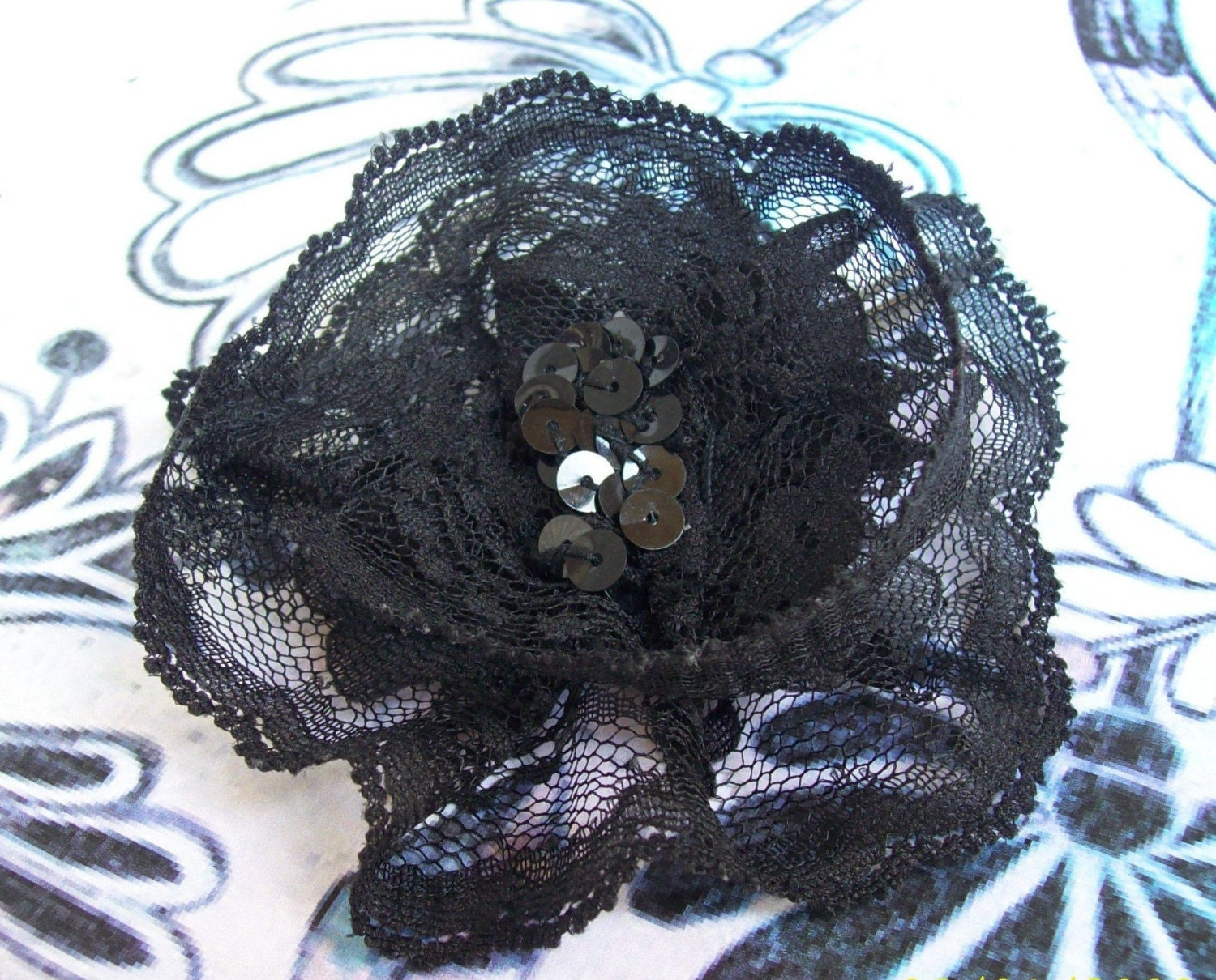 Black Lace Flower Hair Pin