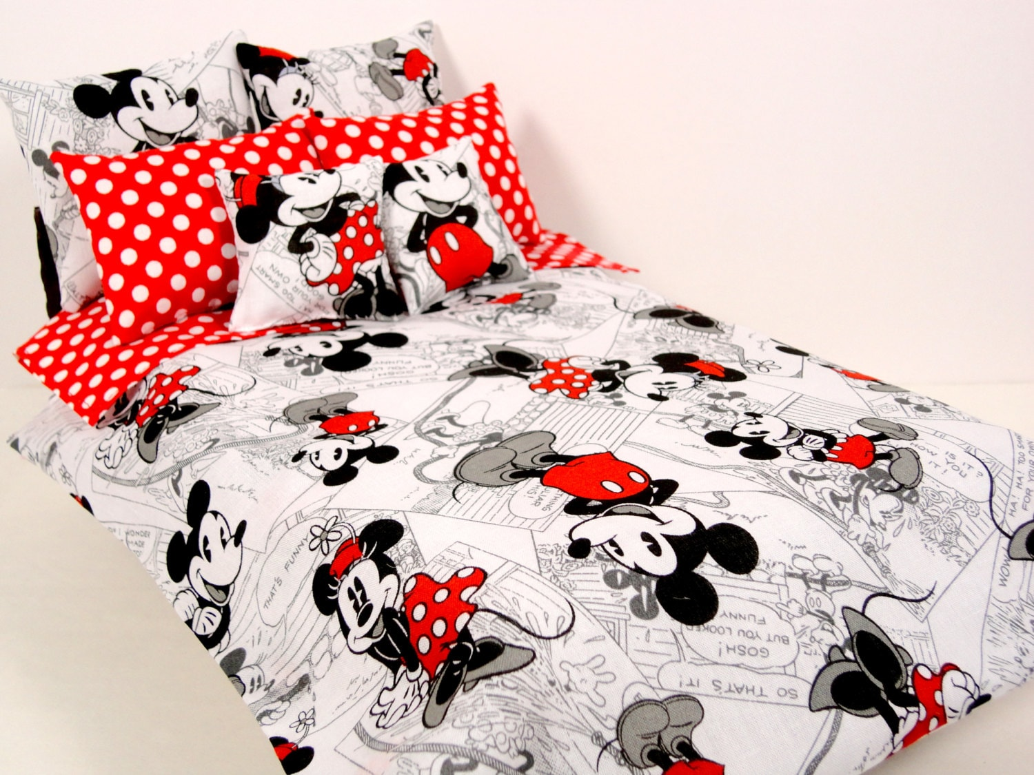 Mickey minnie mouse barbie doll bedding set 1 6 scale 8 piece