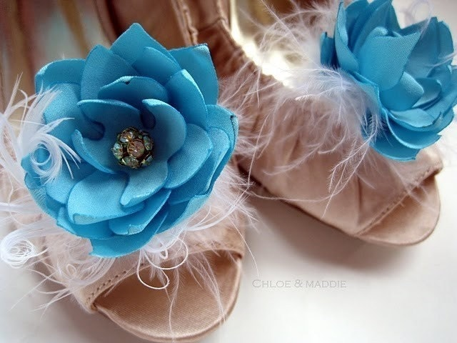 DENA Blue and feathers swedding or special occasions shoe clips (Set of Two)