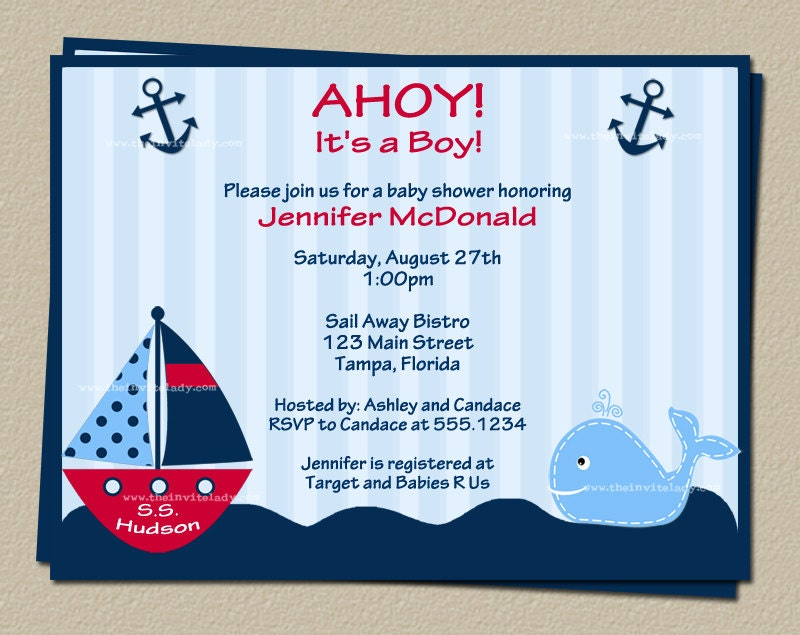 nautical baby shower invitations in red with sailboat and whale set