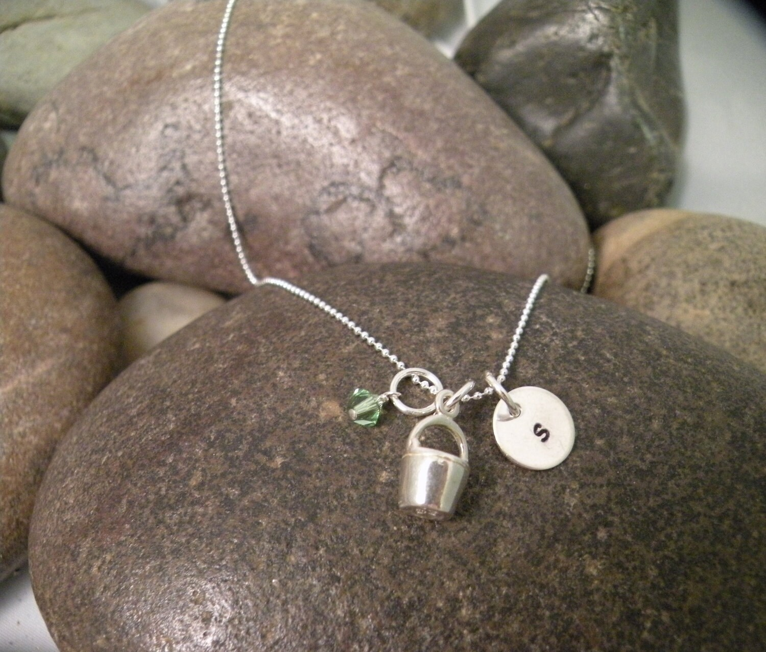 Sterling Silver Mini Initial Hand Stamped Bucket or Pail Charm Necklace