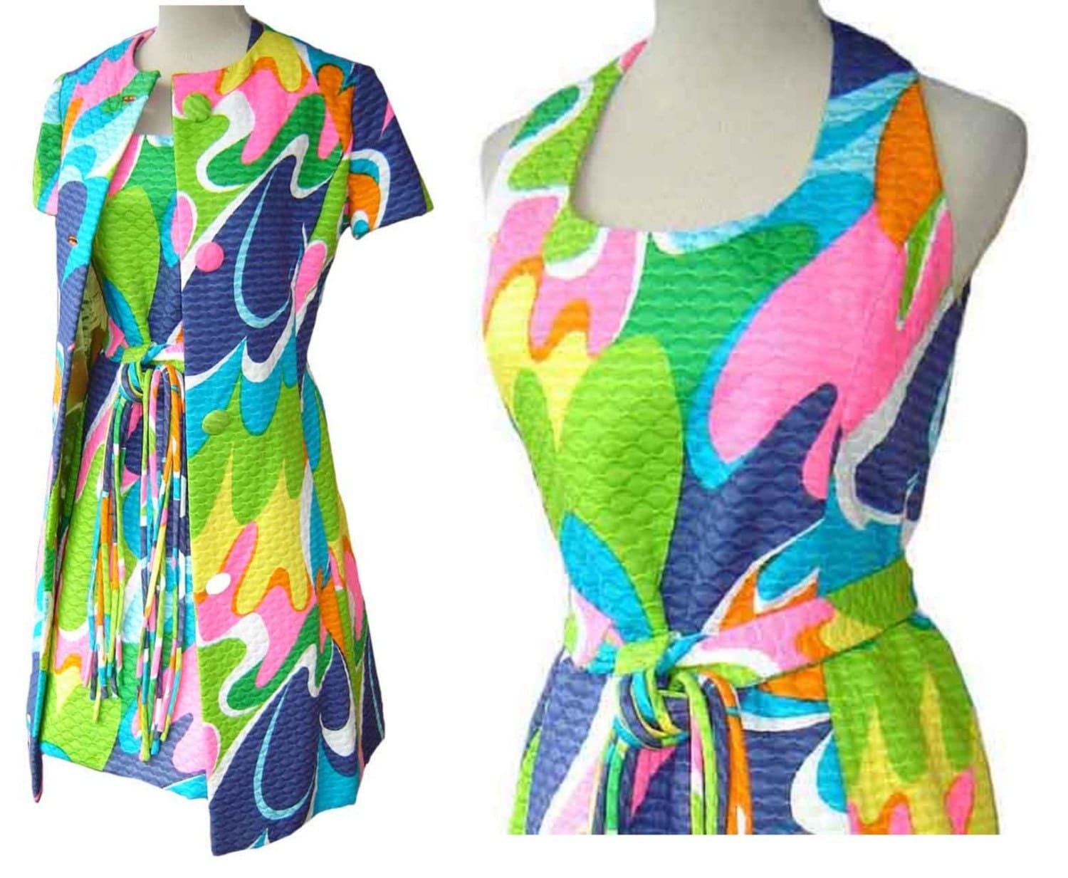 Etsy: Vintage 60's Malcolm Starr Mod Psychedelic Mini Dress w/ Jacket Set M / L - NOSWT by metroretrovintage on Etsy