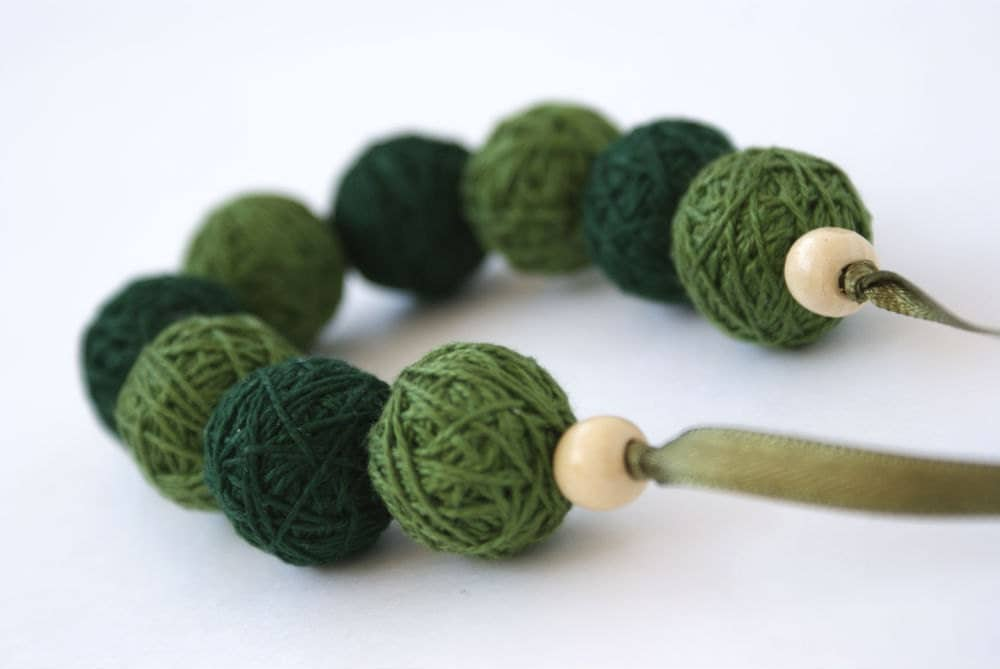 Green bracelete of a thread cotton for women lace textile wooden beads natural woodland gift idea fall fashion - BallClub