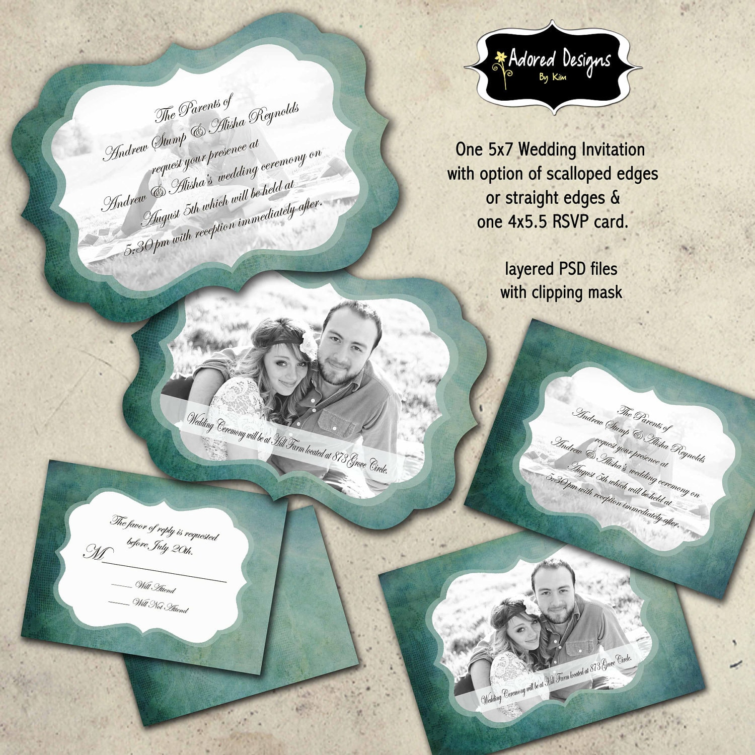Items Similar To Invitation For Wedding Photoshop Templates Amp RSVP Cards Instant Download